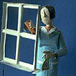 'Cleaning Windows' tinplate automata 1997